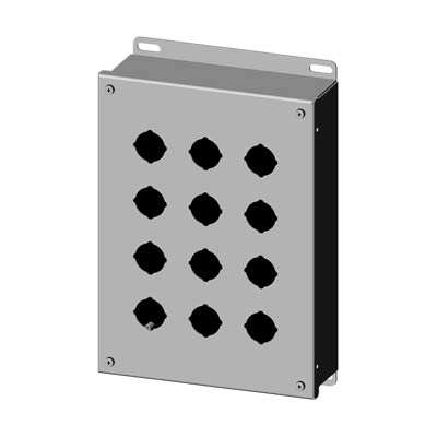 Saginaw Control & Engineering SCE-12PBSS6 12x9x3 316 Stainless Steel Pushbutton Enclosure with 12 Holes, 30.5 mm