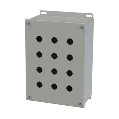 Saginaw Control & Engineering SCE-12PBXI 12x9x5 Metal Pushbutton Enclosure with 12 Holes, 22.5 mm