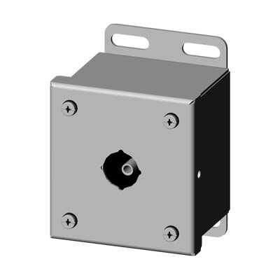 Saginaw Control & Engineering SCE-1PBSS6I 4x3x3 316 Stainless Steel Pushbutton Enclosure with 1 Hole, 22.5 mm