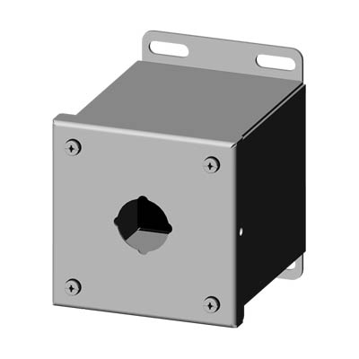 Saginaw Control & Engineering SCE-1PBXSS6 4x4x5 316 Stainless Steel Pushbutton Enclosure with 1 Hole, 30.5 mm