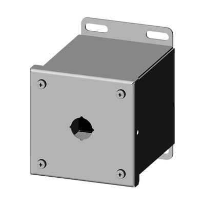 Saginaw Control & Engineering SCE-1PBXSS6I 4x4x5 316 Stainless Steel Pushbutton Enclosure with 1 Hole, 22.5 mm