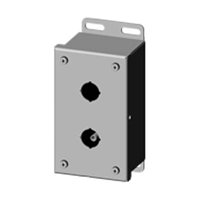 Saginaw Control & Engineering SCE-2PBSS6I 6x3x3 316 Stainless Steel Pushbutton Enclosure with 2 Holes, 22.5 mm