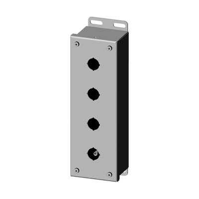 """Saginaw Control & Engineering SCE-4PBSSI 10x3x3"""" 304 Stainless Steel Push Button Electrical Enclosure with 4 Holes, 22.5 mm"""