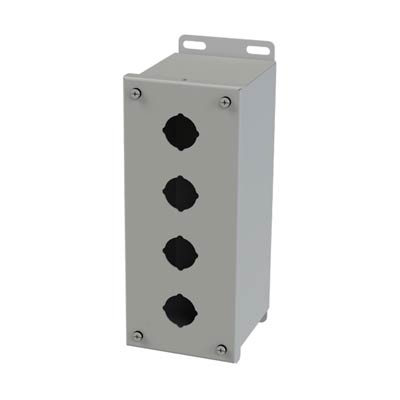 Saginaw Control & Engineering SCE-4PBX 10x4x5 Metal Pushbutton Enclosure with 4 Holes, 30.5 mm