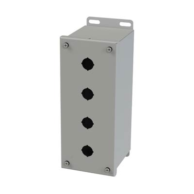 Saginaw Control & Engineering SCE-4PBXI 10x4x5 Metal Pushbutton Enclosure with 4 Holes, 22.5 mm