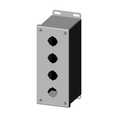 """Saginaw Control & Engineering SCE-4PBXSS 10x4x5"""" 304 Stainless Steel Push Button Electrical Enclosure with 4 Holes, 30.5 mm"""