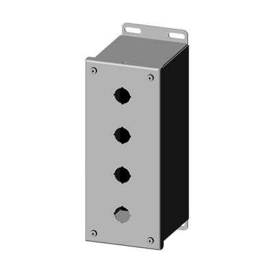 """Saginaw Control & Engineering SCE-4PBXSSI 10x4x5"""" 304 Stainless Steel Push Button Electrical Enclosure with 4 Holes, 22.5 mm"""