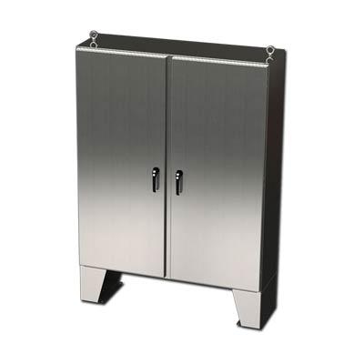"""Saginaw Control & Engineering SCE-60EL6012SSLPPL 60x60x12"""" 304 Stainless Steel Floor Mount Electrical Enclosure"""