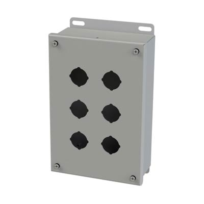 Saginaw Control & Engineering SCE-6PB 10x6x3 Metal Pushbutton Enclosure with 6 Holes, 30.5 mm