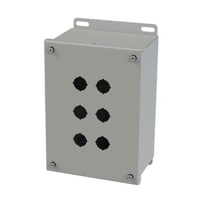 Saginaw Control & Engineering SCE-6PBGX 9x6x4 Metal Pushbutton Enclosure with 6 Holes, 22.5 mm