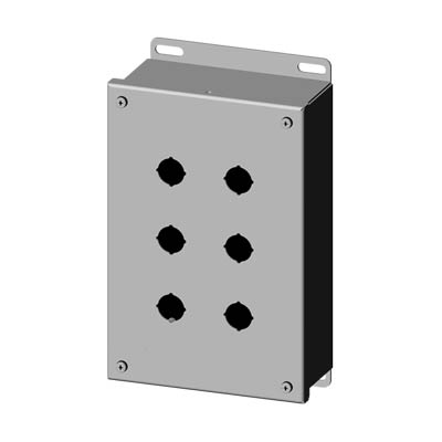 """Saginaw Control & Engineering SCE-6PBSSI 10x6x3"""" 304 Stainless Steel Push Button Electrical Enclosure with 6 Holes, 22.5 mm"""