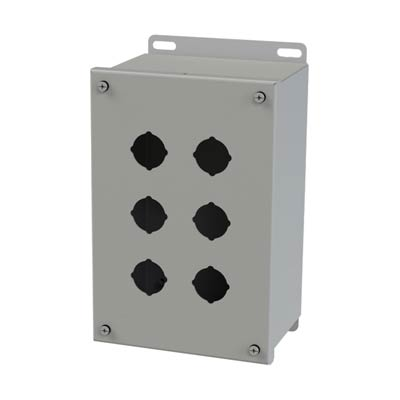 Saginaw Control & Engineering SCE-6PBX 10x6x5 Metal Pushbutton Enclosure with 6 Holes, 30.5 mm