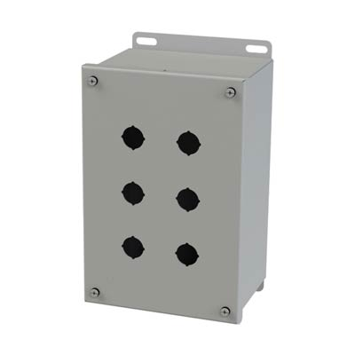 Saginaw Control & Engineering SCE-6PBXI 10x6x5 Metal Pushbutton Enclosure with 6 Holes, 22.5 mm