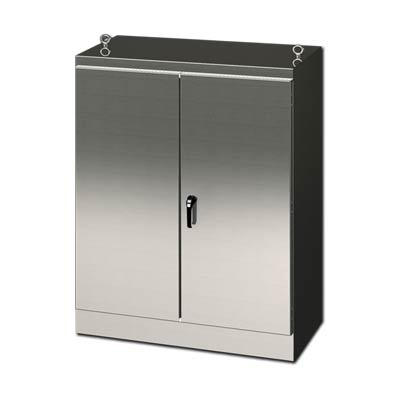 """Saginaw Control & Engineering SCE-724824SSFSD 72x48x24"""" 304 Stainless Steel Free Standing Electrical Enclosure"""