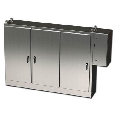 """Saginaw Control & Engineering SCE-72XD3EQ18SS 72x100x18"""" 304 Stainless Steel Free Standing Electrical Enclosure"""