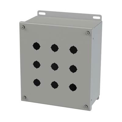 Saginaw Control & Engineering SCE-9PBGX 9x7x4 Metal Pushbutton Enclosure with 9 Holes, 22.5 mm