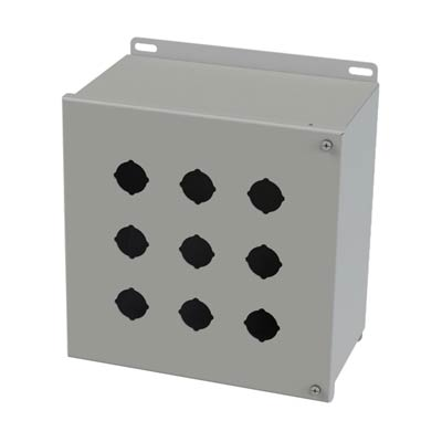 Saginaw Control & Engineering SCE-9PBH 10x10x6 Metal Pushbutton Enclosure with 9 Holes, 30.5 mm