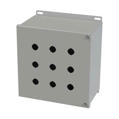 Saginaw Control & Engineering SCE-9PBHI 10x10x6 Metal Pushbutton Enclosure with 9 Holes, 22.5 mm