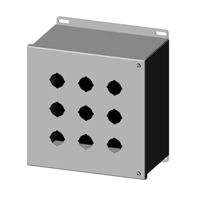 """Saginaw Control & Engineering SCE-9PBHSS 10x10x6"""" 304 Stainless Steel Push Button Electrical Enclosure with 9 Holes, 30.5 mm"""