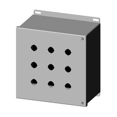 """Saginaw Control & Engineering SCE-9PBHSSI 10x10x6"""" 304 Stainless Steel Push Button Electrical Enclosure with 9 Holes, 22.5 mm"""